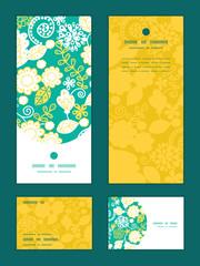 Vector emerald flowerals vertical frame pattern invitation