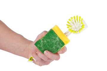 Sponge and a brush in the hand