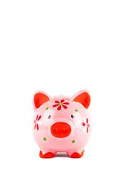 Pink Piggybank isolated on white