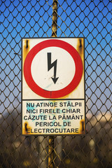 Sign showing risk of electric shock