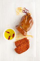italian spicy sausage. nduja. on white.