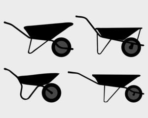 Black silhouettes of  garden  wheelbarrow, vector