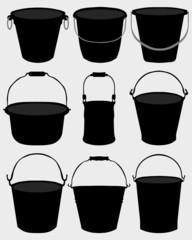 Black silhouettes of garden buckets, vector