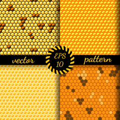 Set seamless vector pattern of honey cells, combs.