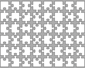 Vector illustration of white puzzle,  separate parts