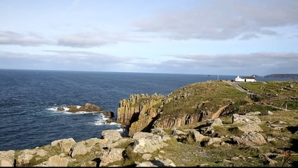View of Lands End Cornwall England UK famous tourist attraction