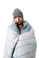 sick man blowing snotty nose in temperature grippe and flu