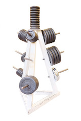 Barbel weights in gym