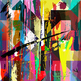 abstract background, with paint strokes, splashes and squares/tr