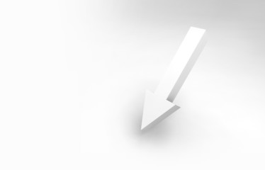 Single arrow sign and soft shadow, 3d render