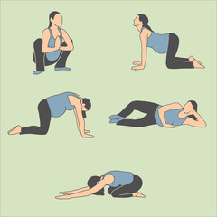Healthy Pregnant Woman Exercise, Stretching, and Yoga Icons