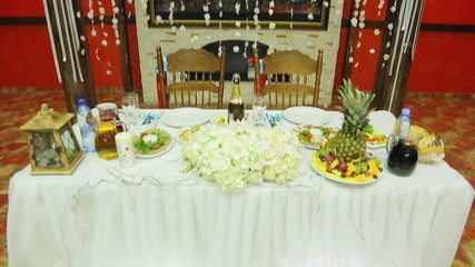 Dressed and served wedding table at the banquet