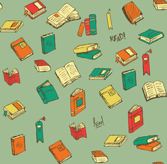 Hand-drawn Book Icons and Seamless Pattern for Reading