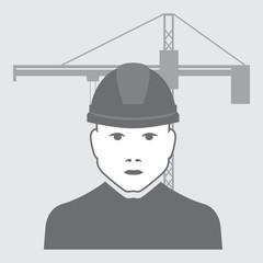vector illustration of crane operator with crane