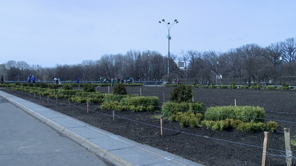 View of spring cleaning in city park