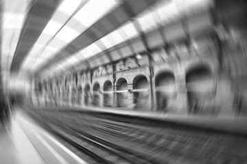 Blurred view of tube station in London
