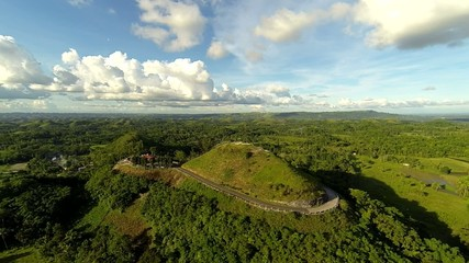 Aerial view on Chocolate hills located at Bohol island