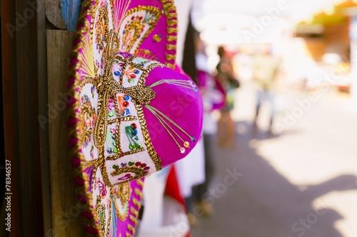 Fotobehang Mexico Pink Sombrero