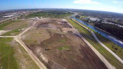 Aerial video garbage land fill