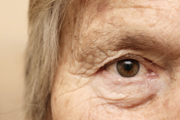 Close-up of old woman's eye
