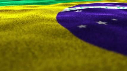 BRAZIL Flag Textile Carpet Background, Move Camera