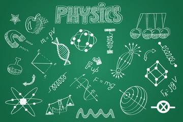 Hand drawn Physics set. Chalk on the blackboard