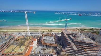 Aerial video of cranes in Miami Beach 4k