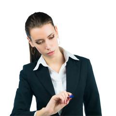 business woman draws