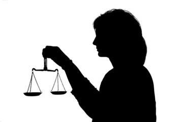 Justitia Schattenbild mit Waage