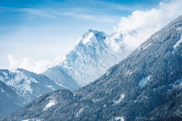 Sunny snow covered alpine landscape