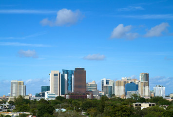 Beautiful skyline view of downtown Fort Lauderdale, Florida, USA
