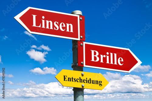 canvas print picture Kontaktlinsen oder Brille / Entscheidung / Schild