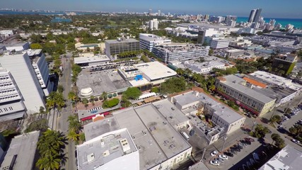 Aerial video Miami Beach Florida cityscape 4k