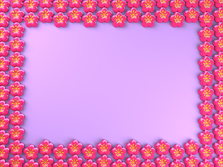 Flower Icons Frame With Purple Text Space