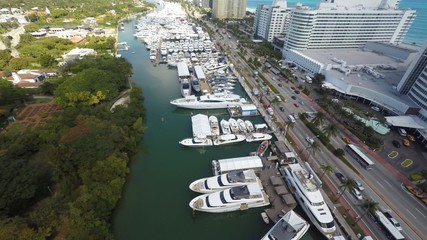 Miami Beach boat show drone aerial video 4k