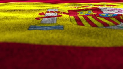 SPANISH Flag Textile Carpet Background, Move Camera
