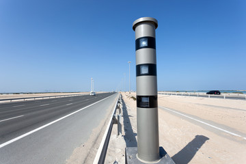 Radar speed control camera at the highway in Abu Dhabi