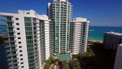 Aerial Bal Harbour buildings Miami