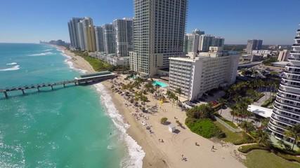 Aerial buildings on the beach 4k