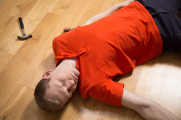 Unconscious handyman after accident