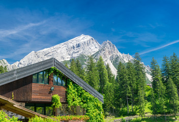 Beautiful building in the middle of mountains valley