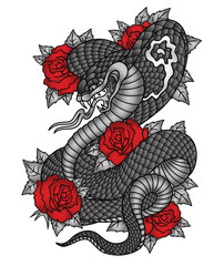 Cobra roses tattoo graphic