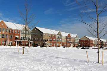 Townhouses after a winter storm