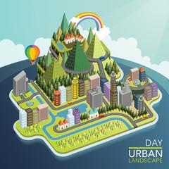 flat 3d isometric urban landscape illustration
