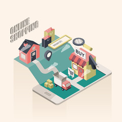 flat 3d isometric online shopping illustration