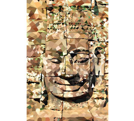 Low poly Buddha face,Angkor Thome vector background