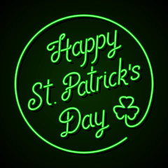 Neon sign - Happy St. Patrick's Day lettering with shamrock