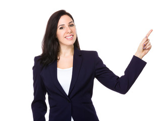 Businesswoman with finger show up