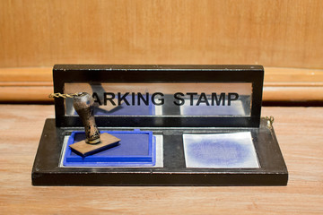 rubber stamp with blue ink