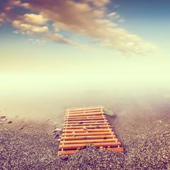 Minimalist misty landscape.